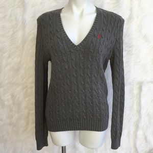 "Ralph Lauren v-neck cable sweater size ""Xl"""